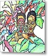 Two African Men In Leaves Metal Print