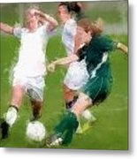 Two Against One Expressionist Soccer Battle  Metal Print