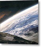 Two Astronauts Exploring A Moon Metal Print