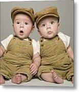 Two Babies In Matching Hat And Overalls Metal Print