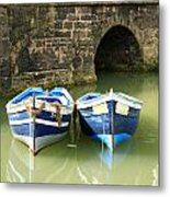Two Blue Fishing Boats Metal Print