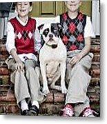 Two Boys And Their Dog Metal Print