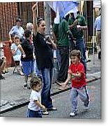 Two Boys Having Some Fun At The 200th Anniversary Of St. Patrick Old Cathedral Metal Print