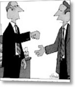 Two Business Men Stand Together Metal Print