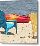 Two Chairs And A Boat Metal Print