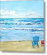 Two Chairs At The Beach Metal Print