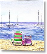 Two Chairs On The Beach Metal Print