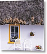 Two Chairs Outside A Cottage, County Metal Print