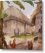 Two Chickens Two Pigs And Huts Jamaica Metal Print