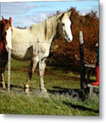 Two Children Admire Horses Metal Print