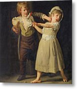 Two Children Fighting Over A Piece Of Bread Metal Print