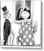 Two Clowns Remark On A Portrait Of An Austere Old Metal Print