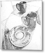 Two Cups And A Saucer Metal Print