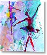 Two Dancing Ballerinas Watercolor 2 Metal Print