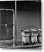 Two Doors And Three Cans Mono Metal Print
