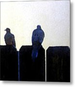Two Doves On A Fence Metal Print