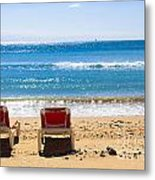 Two Empty Sun Loungers On Beach By Sea Metal Print