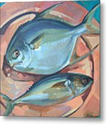 Two Fish On A Copper Platter Metal Print