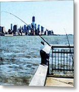 Two Fishing Poles Metal Print