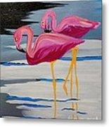 Two Flamingo's In Acrylic Metal Print