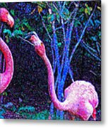 Two Flamingos Metal Print