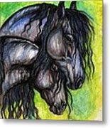 Two Fresian Horses Metal Print