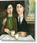 Two Gay Men In A Paris Cafe Metal Print