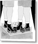 Two Giant Boxers Stand In A Regular Sized Boxing Metal Print