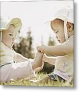 Two Girls Sit Together Metal Print