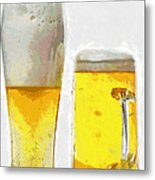 Two Glass Of Beer Painting Metal Print