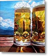 Two Glasses Of Beer With Mountains Metal Print