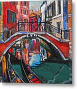Two Gondolas In Venice Metal Print