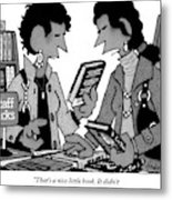 Two Guys Discuss The Value Of Books At A Library Metal Print