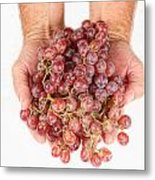 Two Handfuls Of Red Grapes Metal Print