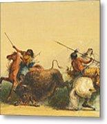 Two Indians Killing A Buffalo Metal Print