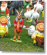 Two Joyous Gnomes And A Weird Hare Metal Print