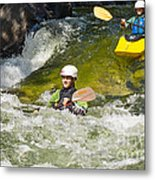 Two Kayakers On A Fast River Metal Print