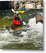 Two Kayakers On A Whitewater Course Metal Print