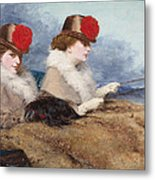 Two Ladies In A Carriage Ride Metal Print