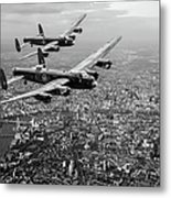 Two Lancasters Over London Black And White Version Metal Print