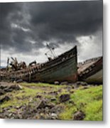 Two Large Boats Abandoned On The Shore Metal Print