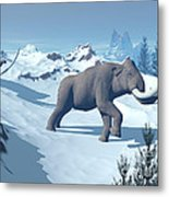 Two Large Mammoths Walking Slowly Metal Print by Elena Duvernay