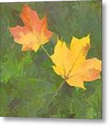 Two Leafs In Autumn Metal Print