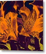 Two Lilies Gradient Ink Outline Metal Print