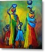 Two Little Girls Carrying Water Metal Print