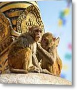 Two Macaques On Top Of Chorten Metal Print