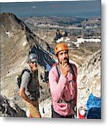 Two Male Hiker Stop To Look Metal Print