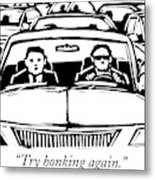 Two Men In A Car Are Stuck In Traffic Metal Print