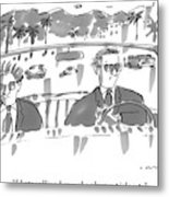 Two Men In Suits Riding In A Convertible Metal Print