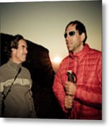 Two Men Share Stories As The Sun Sets Metal Print